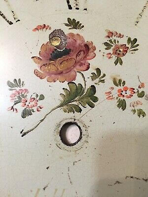Antique Grandfather Clock Dial Painted Strawberries & Flowers Hanson Yaxley 2