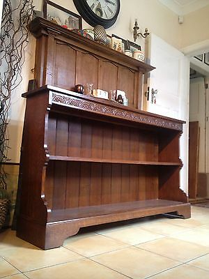 A Pair of Solid Oak Bookcases / Dressers Lunette Carved Cornice Maker Stamp 3