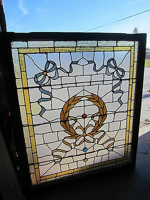 ANTIQUE AMERICAN STAINED GLASS LANDING WINDOW 35.75x42.25 ARCHITECTURAL SALVAGE