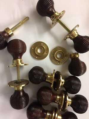 8x Pair Rosewood Beehive door handles,Victorian antique Style beehive DOOR Knobs 4