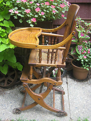 Primitive Antique Wicker Baby High Chair Rocker Stroller Cast Iron Toy Wheels 11