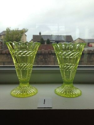 PAIR OF ANTIQUE c1880 HENRY GREENER GREEN VASELINE / URANIUM GLASS TRUMPET VASES 8