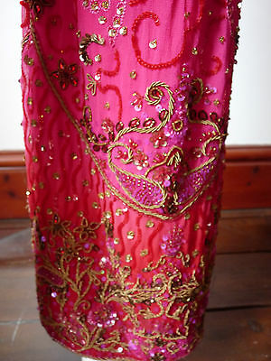Asian Wedding Cerise Pink & Red Trouser Suit With Scarf   M   Ret £350   Bnwt 10