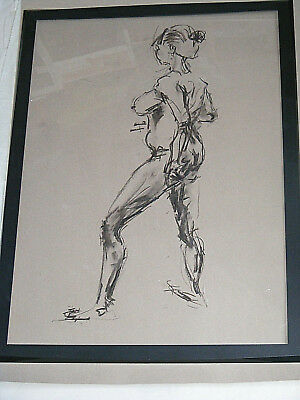 Figure life drawing nude expressive, charcoal / paper, woman standing, A1 size @ 4