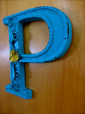 """BLUE CAST IRON WALL LETTER """"P"""" 6.5"""" TALL rustic vintage decor sign child nursery 2"""