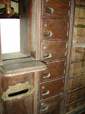 Antique Oak Country Store US Post Office Unit. Finger groove front. 6820 11