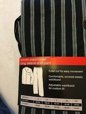 NWT Men's Hanes Woven Pant Shirt Set Pajamas PJ Cotton Blend Blue Stripe Various 7