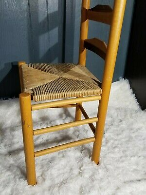 Antique Shaker Style Ladder Back Accent Chair Woven Seat (2 available) 2
