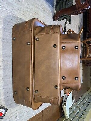 Vintage SCOVILL SUITCASE Tan Faux Leather (3) Piece Luggage 10