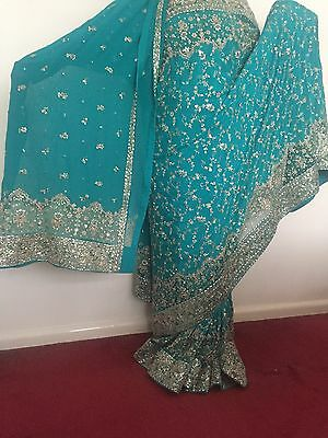 Indian Bridal Engagement Wedding Sari Blue Green Turquoise 3 Piece Dupatta Heavy 11