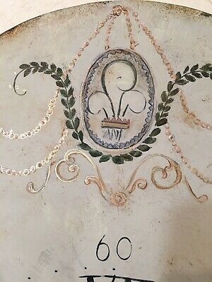 Beautiful Antique Painted Iron Grandfather Clock Dial C. 1800's Scroll Decor 2