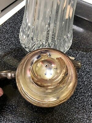 Vintage Tall Glass & Silverplate Iced Beverage Serving Carafe Pitcher 12