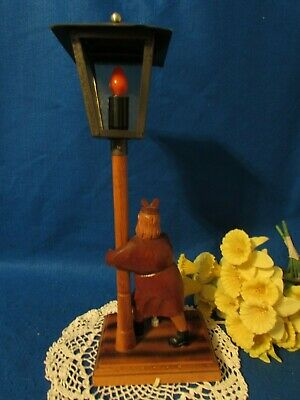 """Vtg Hand Carved Wood Women W Rolling Pin On A Metal Lamp Post Top Table Lamp 19"""" 6"""