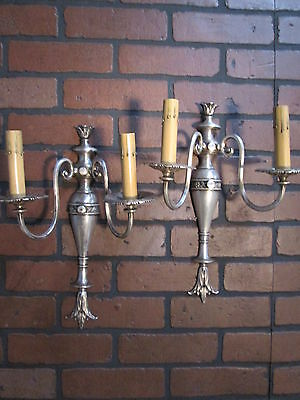 Vintage Antique Pair Wall Sconces Silver Plate 2 Arm Wall Lights 4
