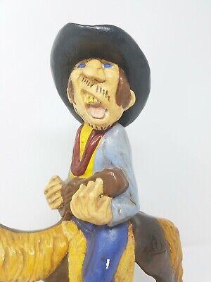 Vintage Gres Divertido Singer Cowboy Equitación Caballo Estatua Decoración Hogar 3