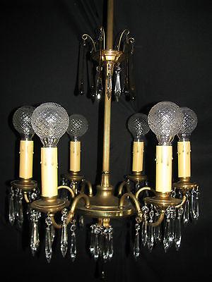 Vintage Art Deco Victorian Brass Crystals Chandelier Ceiling Light Fixture 20's 11