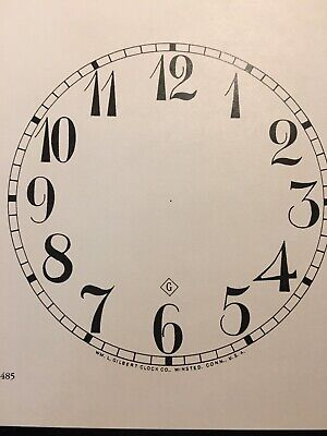 "Antique Clock Parts- Gilbert Clock Dial 5"".Original Cardboard, New, White. 3"