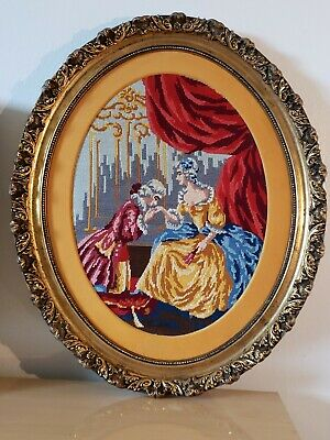 Antique Victorian Oval Wood Gold Gilt very ornate Frame EMBROIDERED Man n woman 3