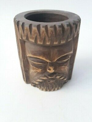 toller seltener Holz Mörser Apotheke antiker Stößel Pistill mit Gesicht RaR 5