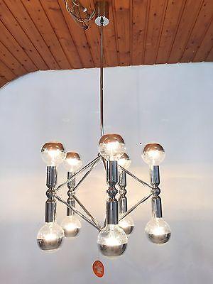 KINKELDEY Space Age ATOMIC Chandelier Pendant Lamp Fermigier Era Verre Lumiere 7 • CAD $1,864.80