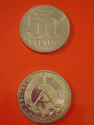 50 Pfennig Pf. A 1987 DDR in Stempelglanz Stgl. st matt im Münzrähmchen n. J1512