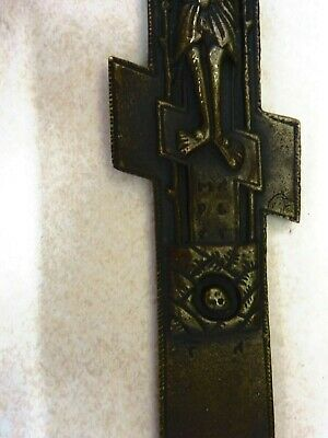 "Antique Russian Orthodox Brass Three Bar Eight Point 8"" Blessing Cross Excellent 4"