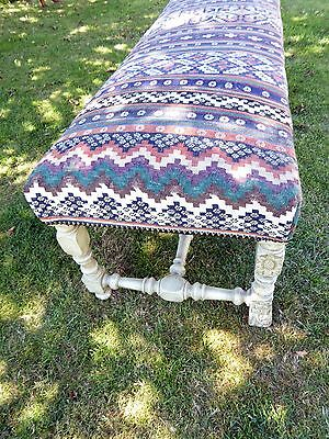 Large Ornate Painted Stool Length 5Ft 6 Aztec Carpet Upholstery  Free Shipping 4