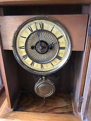 Rare Antique Wurttemburg German Beech Cased Mantle Bracket Clock 12