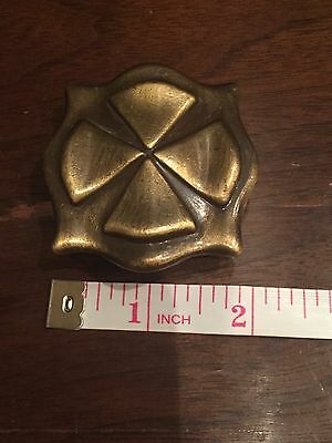 Three Vintage Bronze Draw Pull Knobs Retro Mid Century Brass Tone Celtic Square 5
