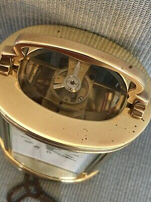 Nice Old c1920 Miniature Oval French Carriage Clock Original Lever Escapement 2