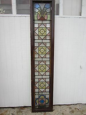~ ANTIQUE AMERICAN STAINED GLASS WINDOW ~ 17.25 x 85.75 ~ ARCHITECTURAL SALVAGE