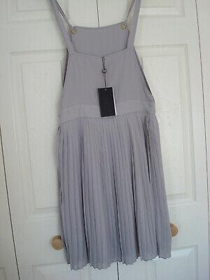 ~ UNION ~ Bib & Brace DUNGAREE TOP & PLEATED SKIRT Pinafore DRESS Grey 12 BNWT 5