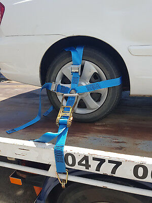 (4 Pack) Car Carrying Ratchet Tiedown, Trailer Tie Down, Car Wheel Harness 3