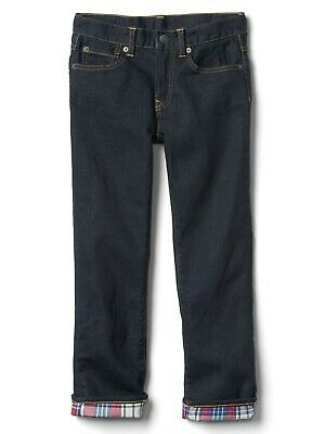 Boys` New GAP Flannel Lined Winter Jeans Ages 4 to 14 Kids Straight Leg 2