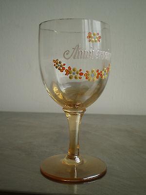 """Vaso Esmalte Antiguo Cumpleaños"""" Deco Souvenir Vintage Glass Arte Mesa 2"""