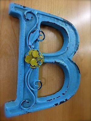 "BLUE CAST IRON WALL LETTER ""B"" 6.5"" TALL rustic vintage decor sign barn nursery 3"