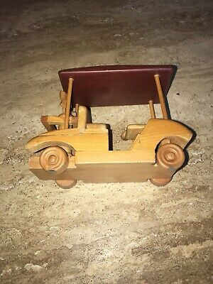 Carved Wood Golf Cart Complete with Golf Bags and Clubs Multi Colored Wood Doug 4