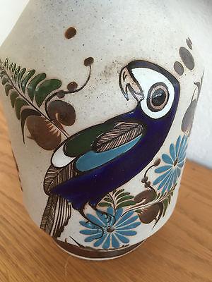 Tonala Mexico Large Pottery Vase Signed Mateos Browns Blues W Bird