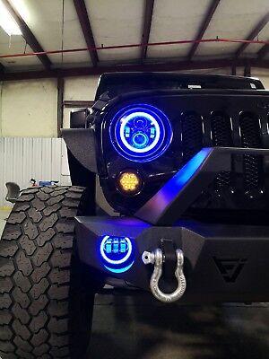 7 In RGB LED Halo Headlights Fog Light Combo Kit for Jeep Wrangler JK 07 to 2017 6