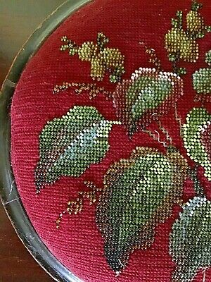 Antique Beadwork Tapestry Wooden Foot Stool 9