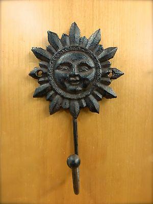 "2 BROWN SUN FACE HOOKS ANTIQUE-STYLE 6"" CAST IRON sunburst yard garden coat key 3"