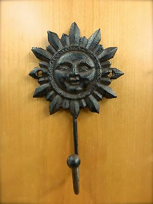 6 BROWN SUN FACE HOOKS ANTIQUE-STYLE CAST IRON decor sunburst yard garden