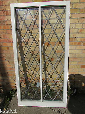 Early 1900's Wood Framed Diamond Leaded Window Vintage Architectural Salvage 3