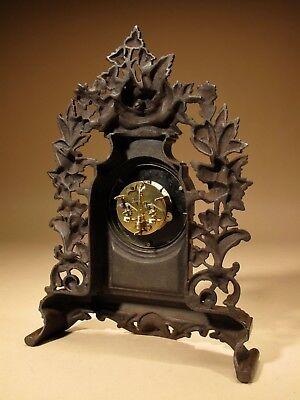 Rare Old Brown Colour Gild Cast iron Alarm mantel Clock Circa: 1890-1900 3