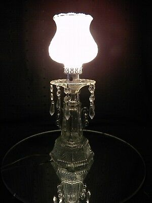 Vintage Pressed Glass Art Deco Table Lamp W Frosted Glass Shade