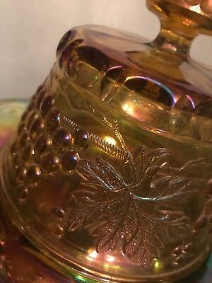 FAB! NORTHWOOD Marigold Grape & Cable Carnival Glass Butter Dish Signed 4