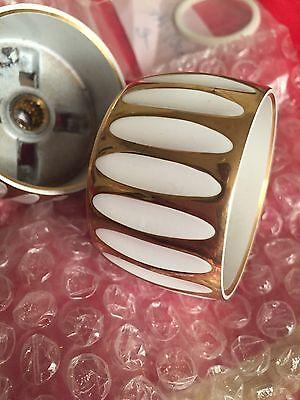 """Door Knob White & Gold Metal Elegant Style Doorknob New 2"""" x 1.25"""" Handle"""