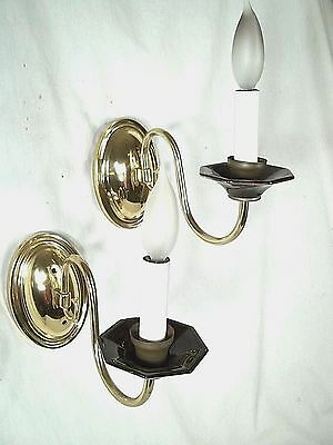 A Graceful Pair Of Oval Back Brass Sconces With Curved Arms +Black Glass Cups 2