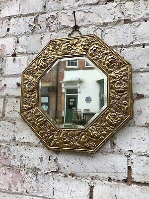 "Vintage Pressed Brass Floral Octagonal Framed Wall Mirror 16"" Decorative Antique 2"