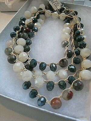 Old Soul Jewelry  Necklace Long  Earthy Agate, Jasper Cream Teal Crystal  NWOT 10